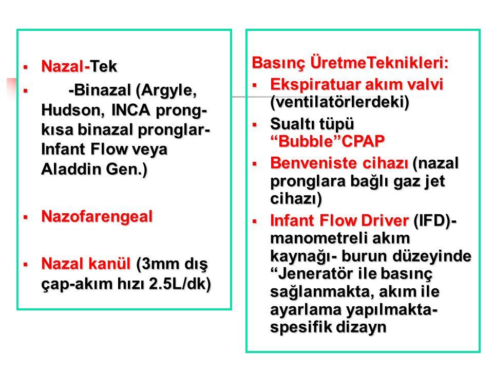  Nazal-Tek  -Binazal (Argyle, Hudson, INCA prong- kısa binazal pronglar- Infant Flow veya Aladdin Gen.)  Nazofarengeal  Nazal kanül (3mm dış çap-a