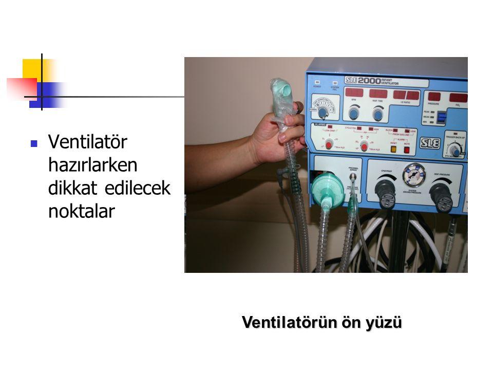 Mekanik ventilatördeki bebeğin bakımı Fizyolojik bulgular izlenir ve kaydedilir Mümkün olduğu kadar minimal dokunma Asepsi kurallarına uyum Hava yolu açıklığının sağlanması Aspirasyon ve pozisyon verme işlemlerinde özen göstermeli Göz, cilt vb bakımını unutma