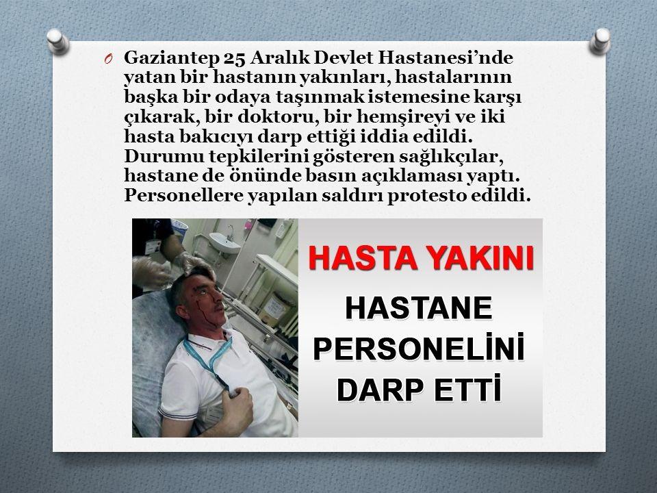 O Gaziantep 25 Aralık Devlet Hastanesi'nde yatan bir hastanın yakınları, hastalarının başka bir odaya taşınmak istemesine karşı çıkarak, bir doktoru,