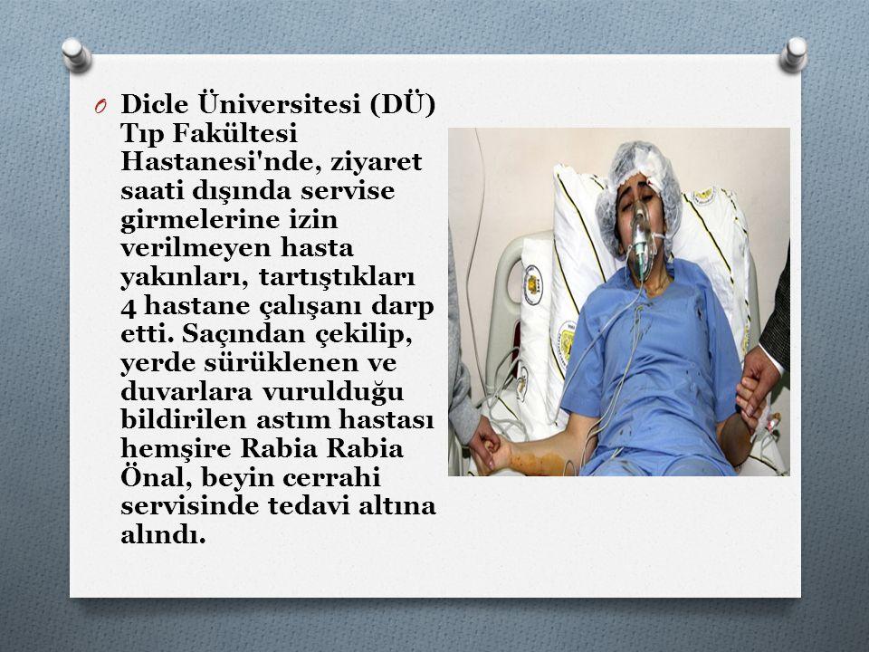 O Dicle Üniversitesi (DÜ) Tıp Fakültesi Hastanesi'nde, ziyaret saati dışında servise girmelerine izin verilmeyen hasta yakınları, tartıştıkları 4 hast