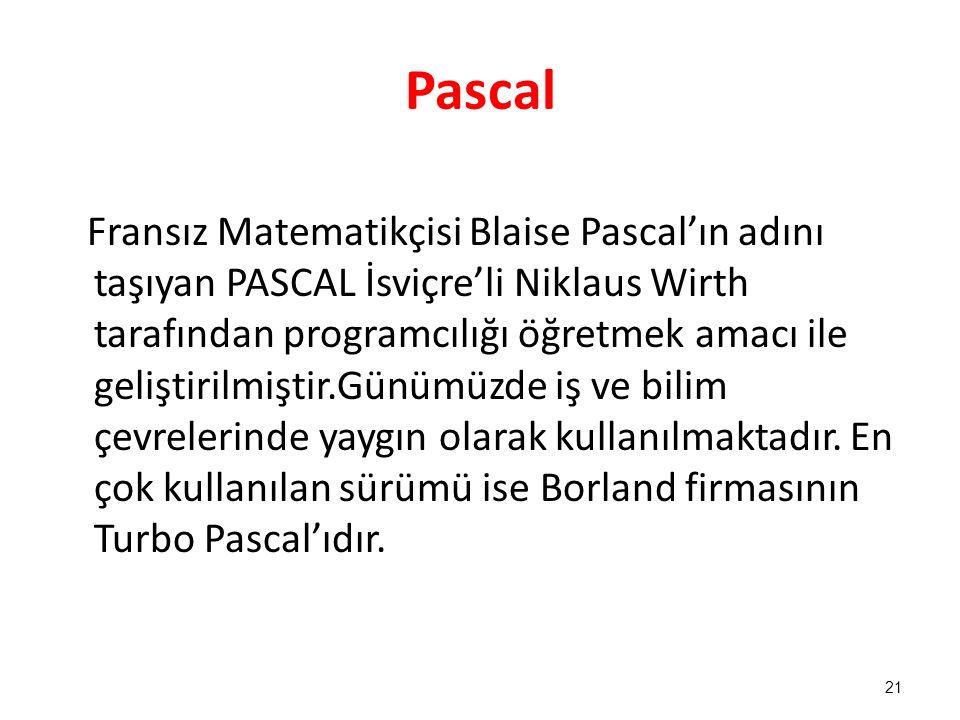 Pascal Fransız Matematikçisi Blaise Pascal'ın adını taşıyan PASCAL İsviçre'li Niklaus Wirth tarafından programcılığı öğretmek amacı ile geliştirilmişt