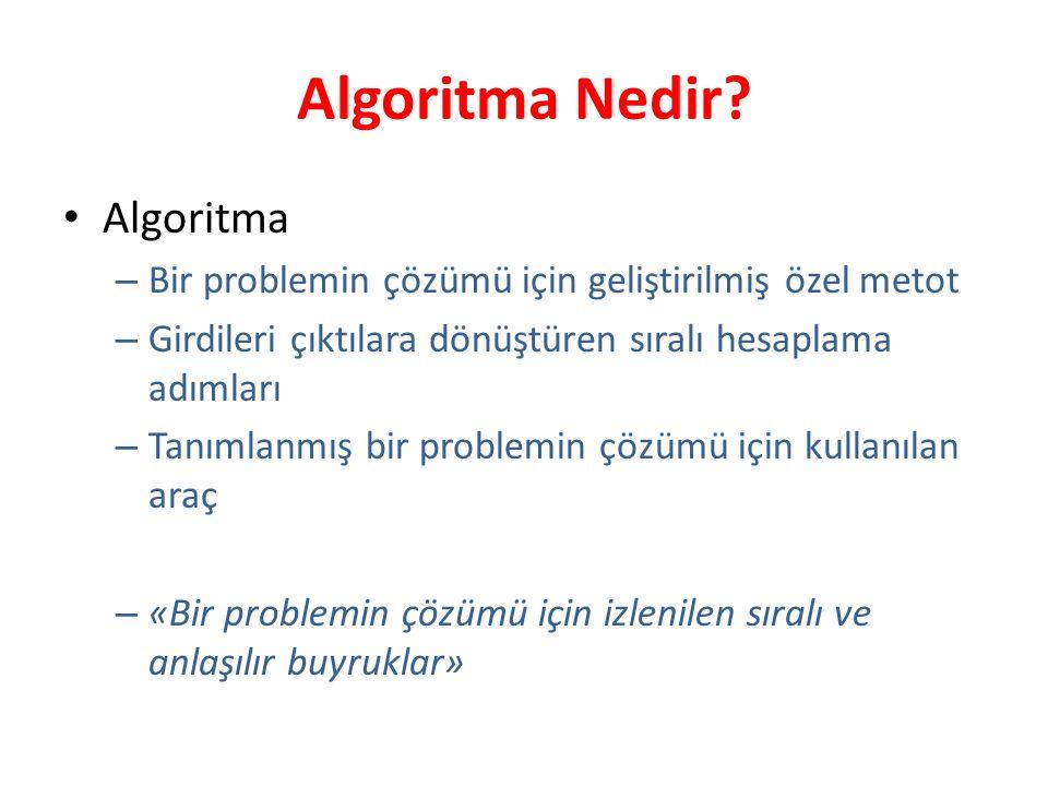Algoritma Nedir? Algoritma – Bir problemin çözümü için geliştirilmiş özel metot – Girdileri çıktılara dönüştüren sıralı hesaplama adımları – Tanımlanm