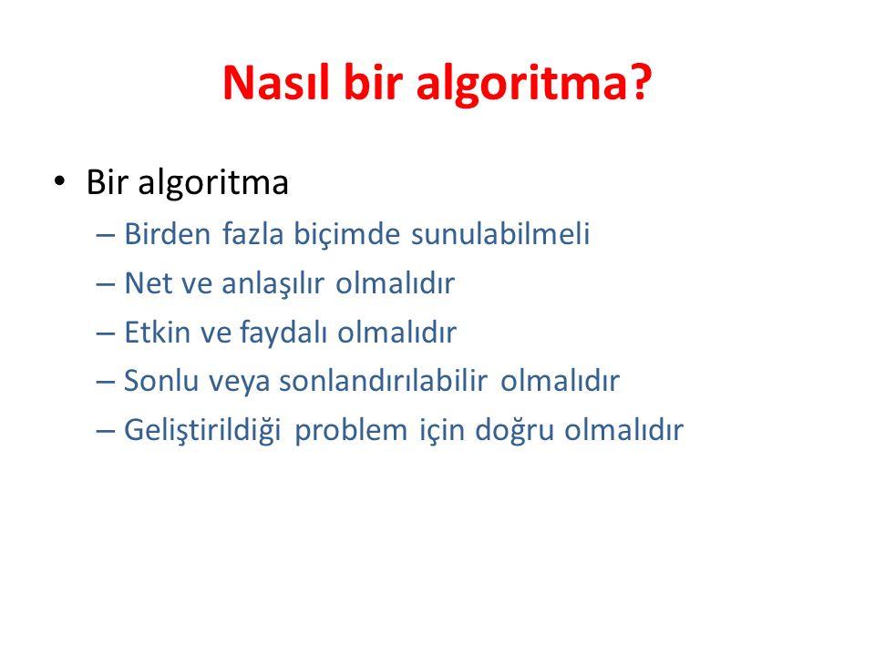 Nasıl bir algoritma? Bir algoritma – Birden fazla biçimde sunulabilmeli – Net ve anlaşılır olmalıdır – Etkin ve faydalı olmalıdır – Sonlu veya sonland