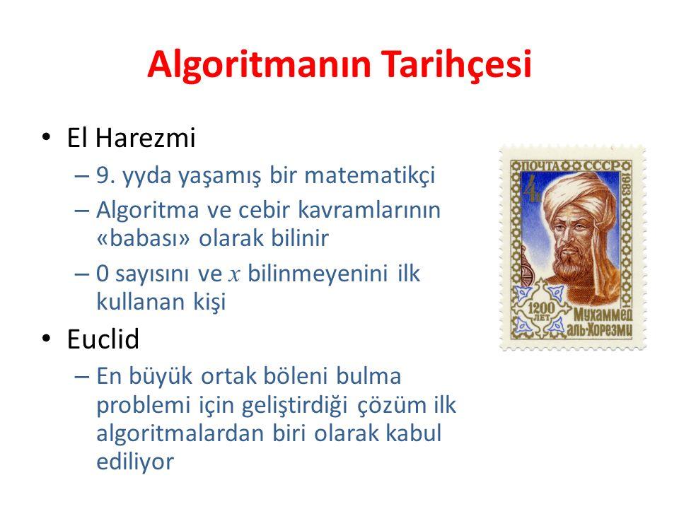 Algoritmanın Tarihçesi El Harezmi – 9. yyda yaşamış bir matematikçi – Algoritma ve cebir kavramlarının «babası» olarak bilinir – 0 sayısını ve x bilin