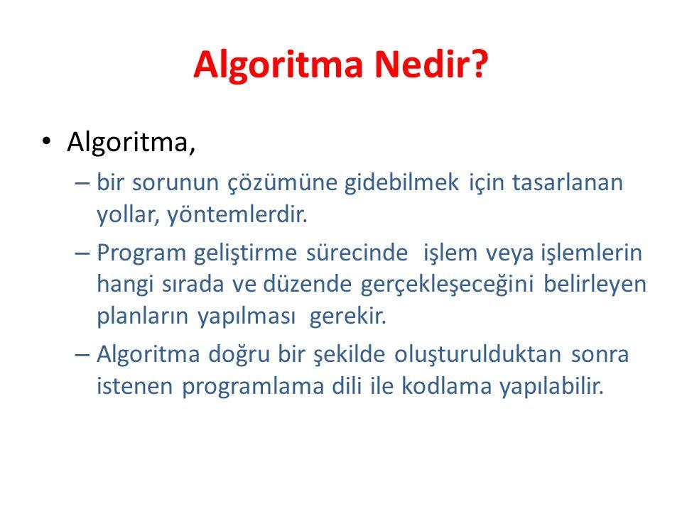 Algoritma Nedir? Algoritma, – bir sorunun çözümüne gidebilmek için tasarlanan yollar, yöntemlerdir. – Program geliştirme sürecinde işlem veya işlemler
