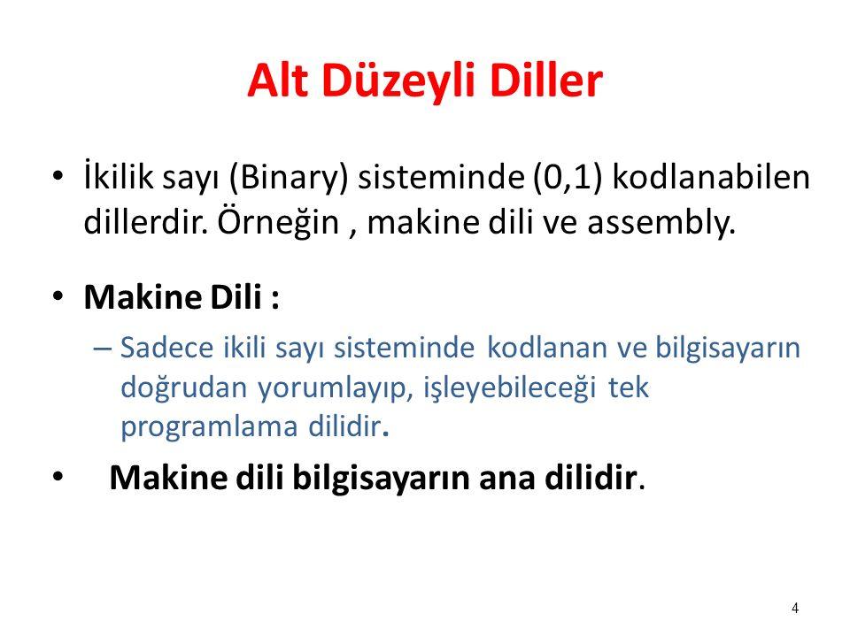 Alt Düzeyli Diller İkilik sayı (Binary) sisteminde (0,1) kodlanabilen dillerdir. Örneğin, makine dili ve assembly. Makine Dili : – Sadece ikili sayı s