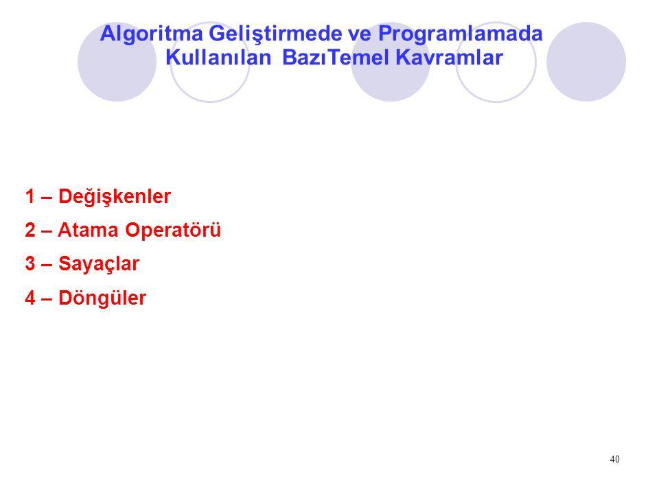 Algoritma Geliştirmede ve Programlamada Kullanılan BazıTemel Kavramlar 1 – Değişkenler 2 – Atama Operatörü 3 – Sayaçlar 4 – Döngüler 40