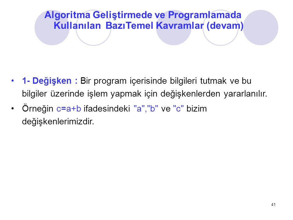 Algoritma Geliştirmede ve Programlamada Kullanılan BazıTemel Kavramlar (devam) 1- Değişken : Bir program içerisinde bilgileri tutmak ve bu bilgiler üz
