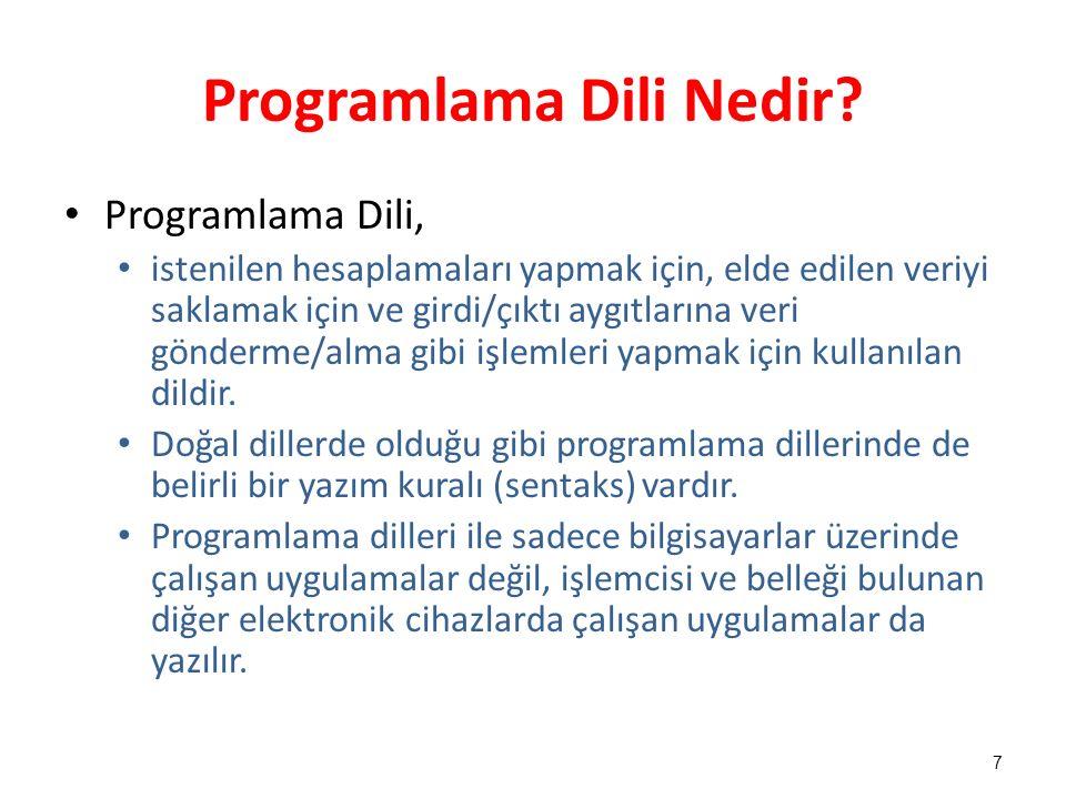 Programlama Dili Nedir? Programlama Dili, istenilen hesaplamaları yapmak için, elde edilen veriyi saklamak için ve girdi/çıktı aygıtlarına veri gönder