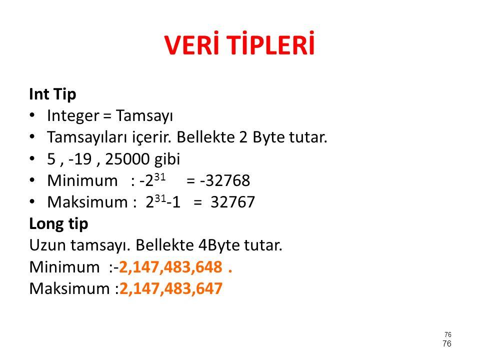 VERİ TİPLERİ Int Tip Integer = Tamsayı Tamsayıları içerir. Bellekte 2 Byte tutar. 5, -19, 25000 gibi Minimum : -2 31 = -32768 Maksimum : 2 31 -1 = 327