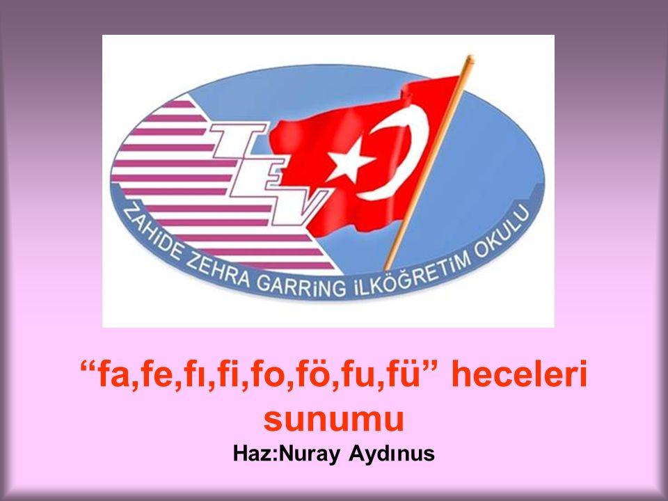 fa,fe,fı,fi,fo,fö,fu,fü heceleri sunumu Haz:Nuray Aydınus