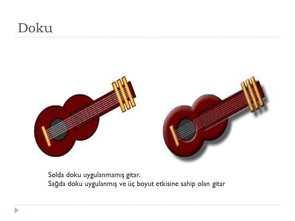Doku Solda doku uygulanmamış gitar. Sa ğ da doku uygulanmış ve üç boyut etkisine sahip olan gitar