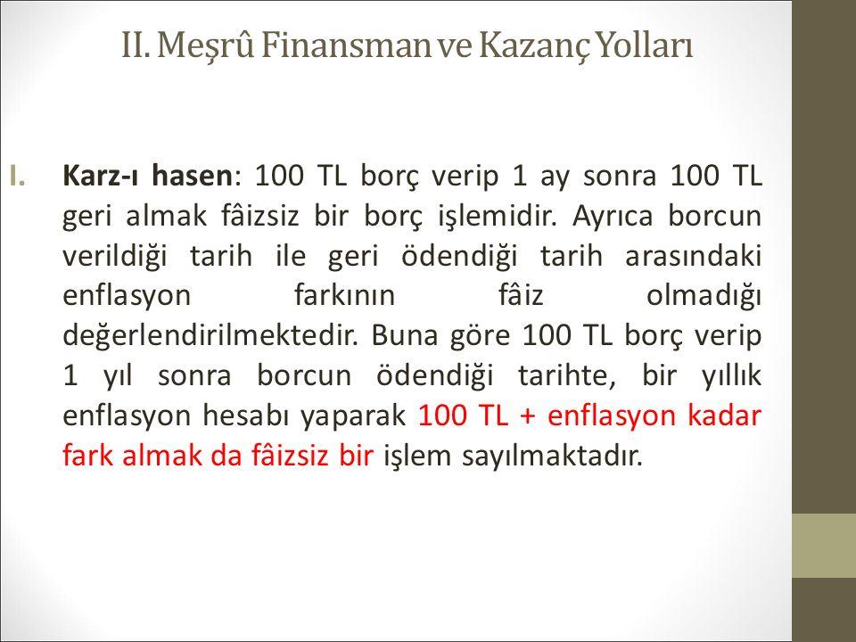 II. Meşrû Finansman ve Kazanç Yolları I.Karz-ı hasen: 100 TL borç verip 1 ay sonra 100 TL geri almak fâizsiz bir borç işlemidir. Ayrıca borcun verildi