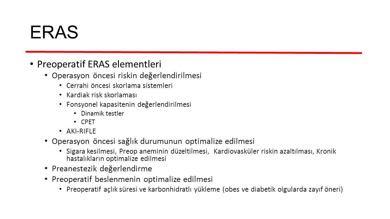 ERAS Preoperatif ERAS elementleri Operasyon öncesi riskin değerlendirilmesi Cerrahi öncesi skorlama sistemleri Kardiak risk skorlaması Fonsyonel kapas