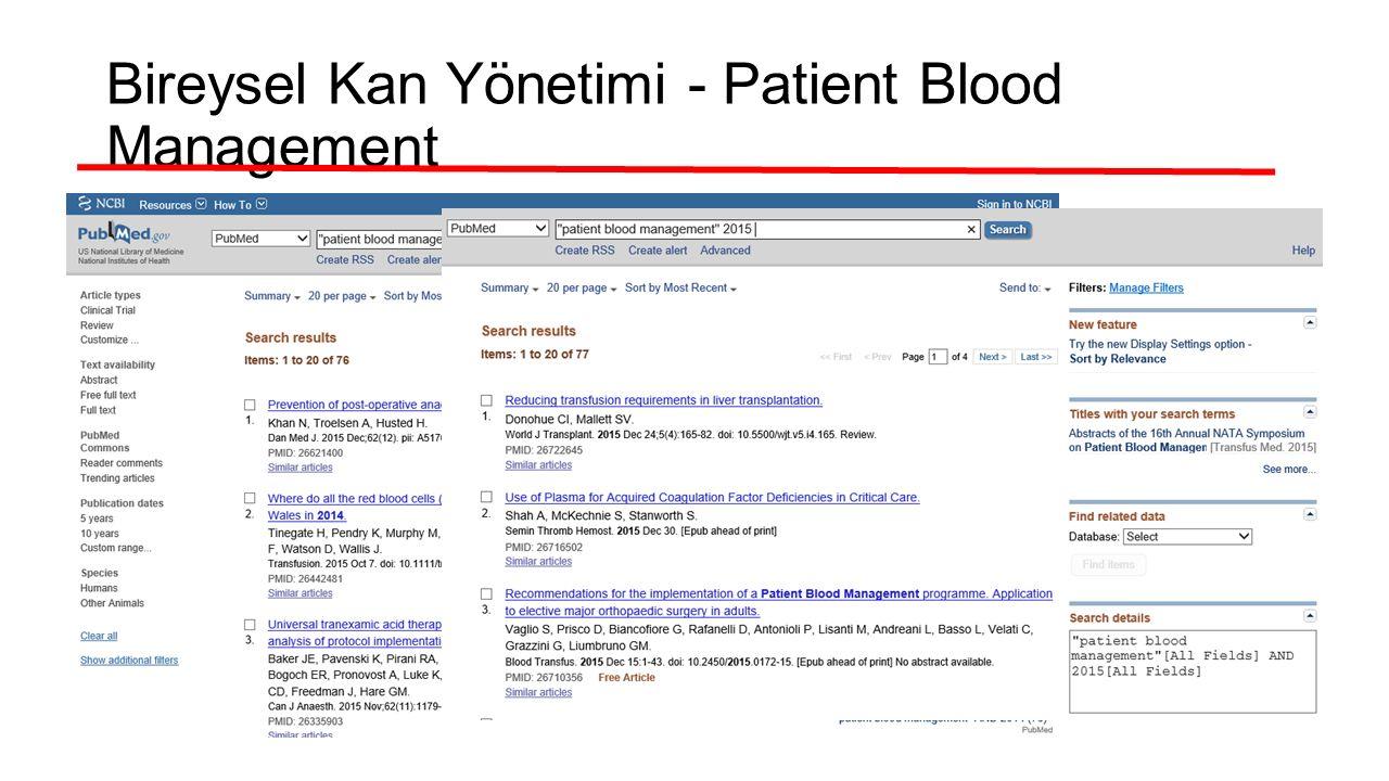 Bireysel Kan Yönetimi - Patient Blood Management