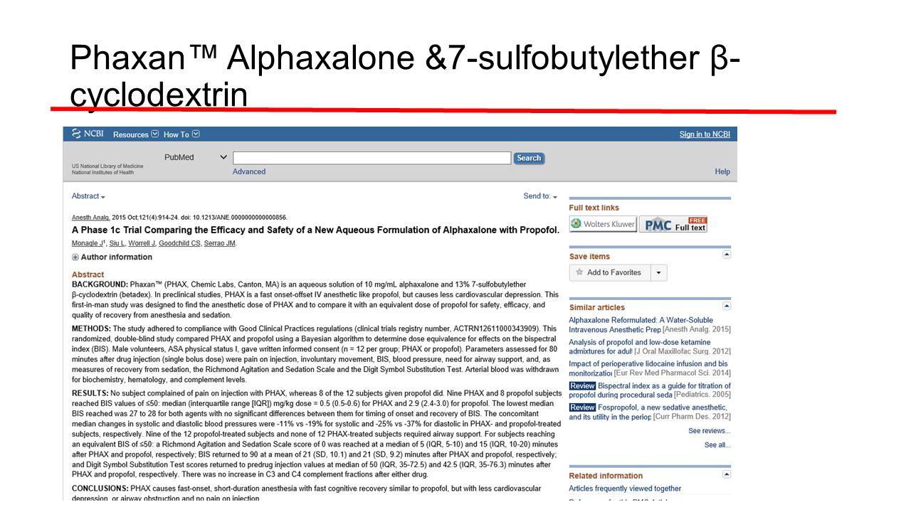 Phaxan™ Alphaxalone &7-sulfobutylether β- cyclodextrin