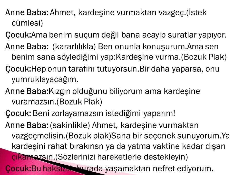 Anne Baba: Ahmet, kardeşine vurmaktan vazgeç.(İstek cümlesi) Çocuk:Ama benim suçum değil bana acayip suratlar yapıyor.