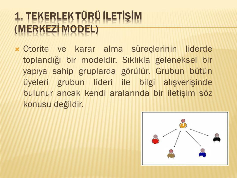  Otorite ve karar alma süreçlerinin liderde toplandığı bir modeldir. Sıklıkla geleneksel bir yapıya sahip gruplarda görülür. Grubun bütün üyeleri gru