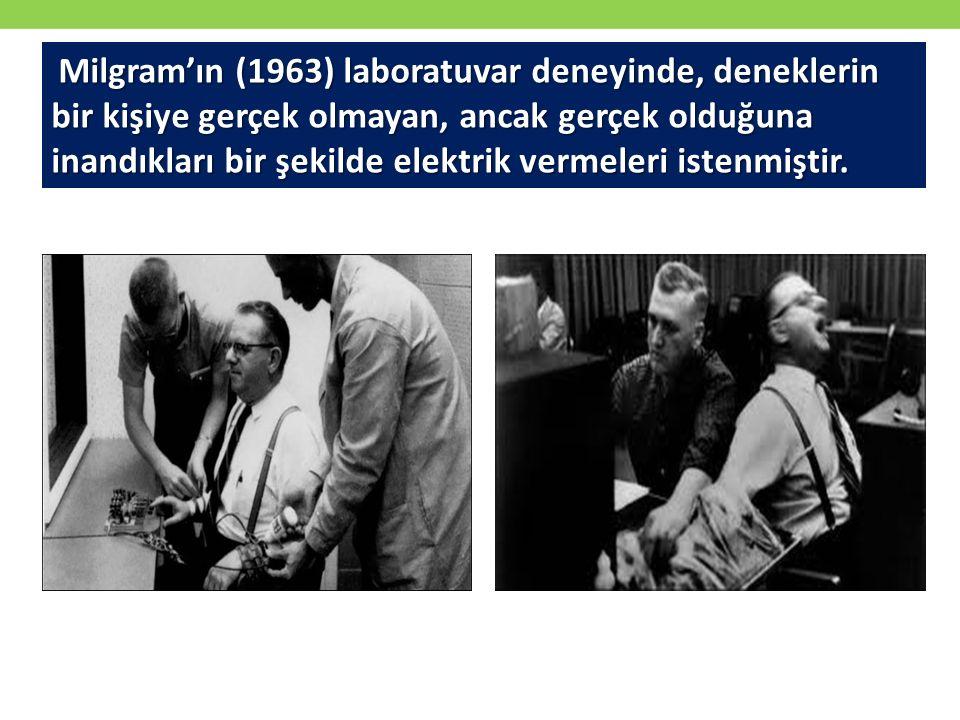 Milgram'ın (1963) laboratuvar deneyinde, deneklerin bir kişiye gerçek olmayan, ancak gerçek olduğuna inandıkları bir şekilde elektrik vermeleri istenm