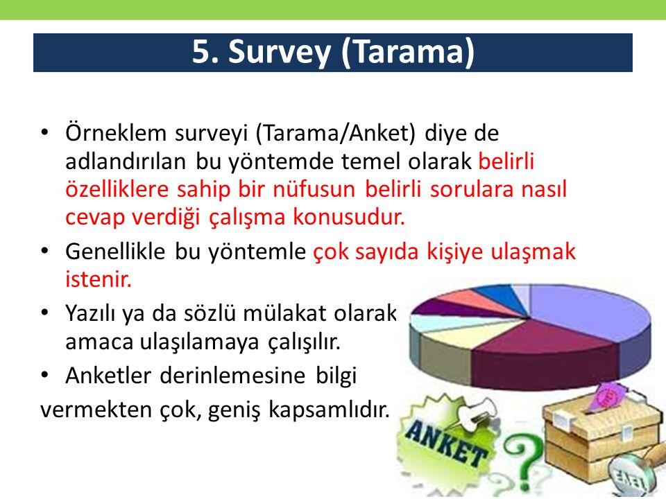 5. Survey (Tarama) Örneklem surveyi (Tarama/Anket) diye de adlandırılan bu yöntemde temel olarak belirli özelliklere sahip bir nüfusun belirli sorular