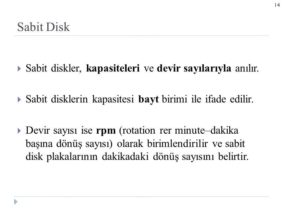  Sabit diskler, kapasiteleri ve devir sayılarıyla anılır.