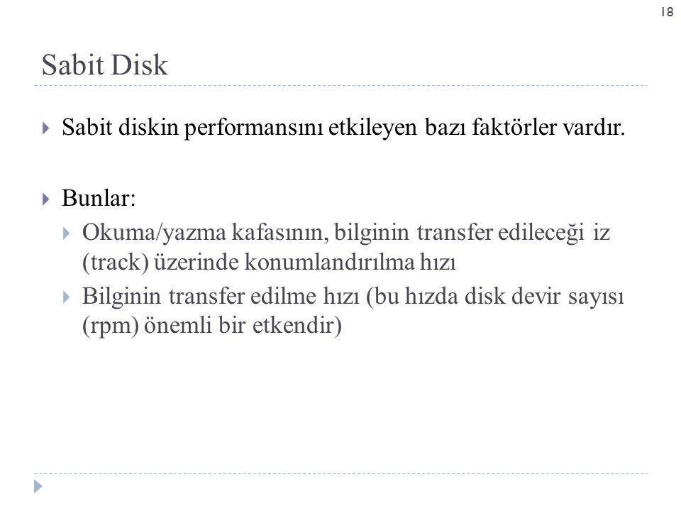  Sabit diskin performansını etkileyen bazı faktörler vardır.
