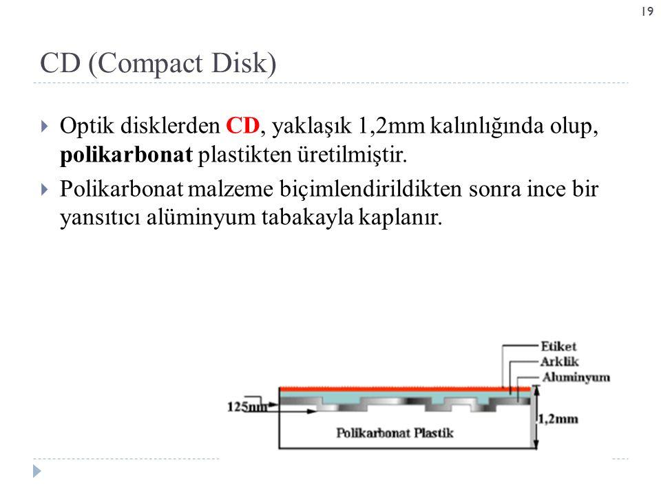  Optik disklerden CD, yaklaşık 1,2mm kalınlığında olup, polikarbonat plastikten üretilmiştir.