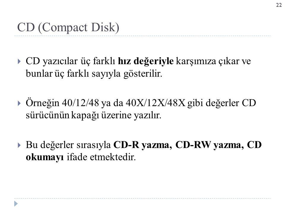  CD yazıcılar üç farklı hız değeriyle karşımıza çıkar ve bunlar üç farklı sayıyla gösterilir.