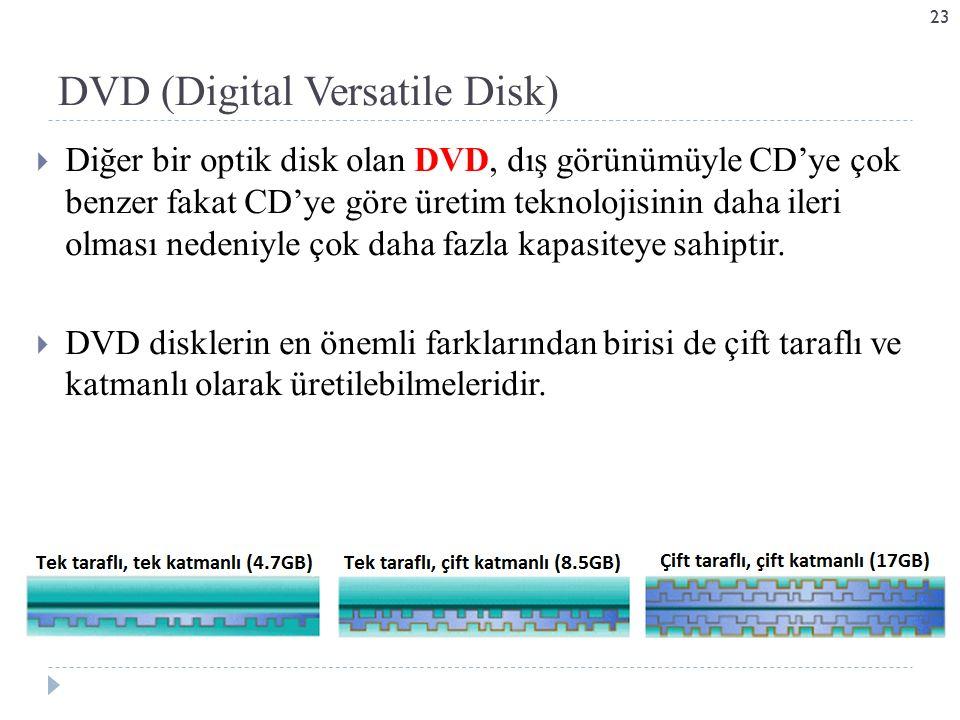  Diğer bir optik disk olan DVD, dış görünümüyle CD'ye çok benzer fakat CD'ye göre üretim teknolojisinin daha ileri olması nedeniyle çok daha fazla kapasiteye sahiptir.