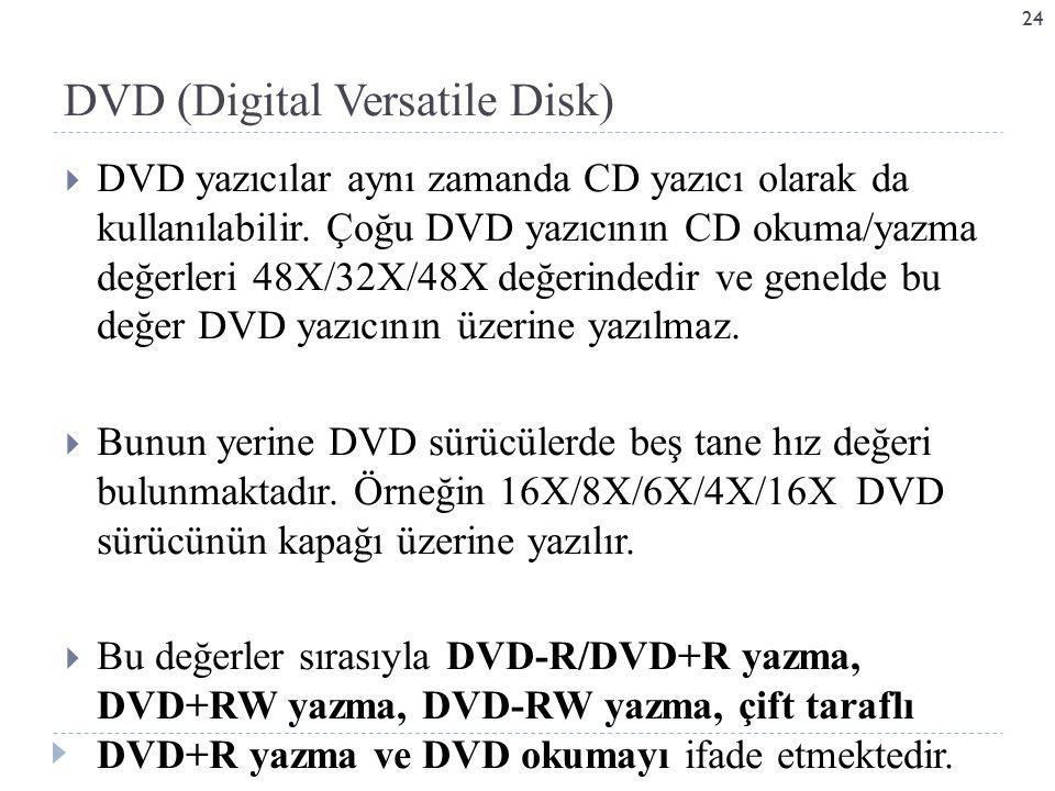  DVD yazıcılar aynı zamanda CD yazıcı olarak da kullanılabilir.