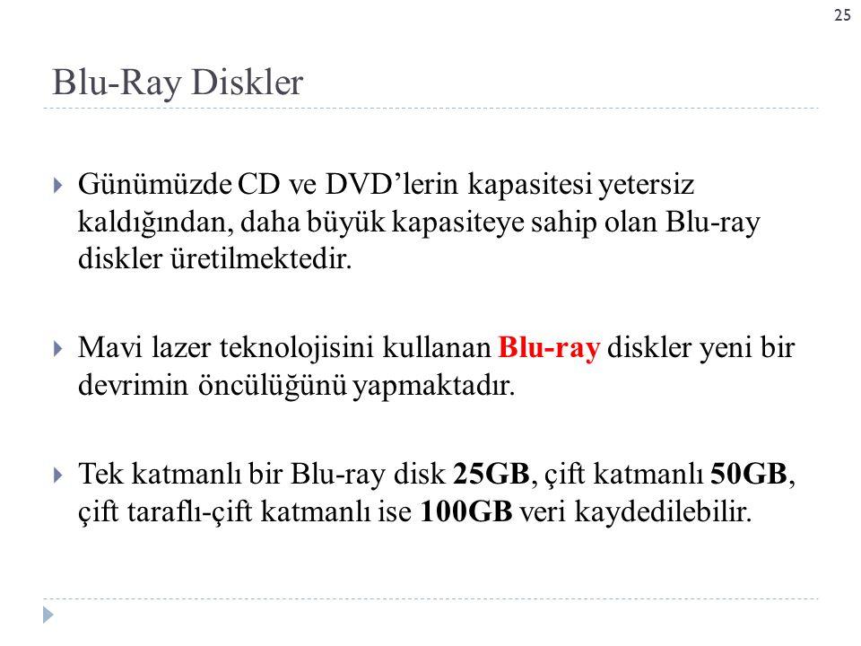  Günümüzde CD ve DVD'lerin kapasitesi yetersiz kaldığından, daha büyük kapasiteye sahip olan Blu-ray diskler üretilmektedir.