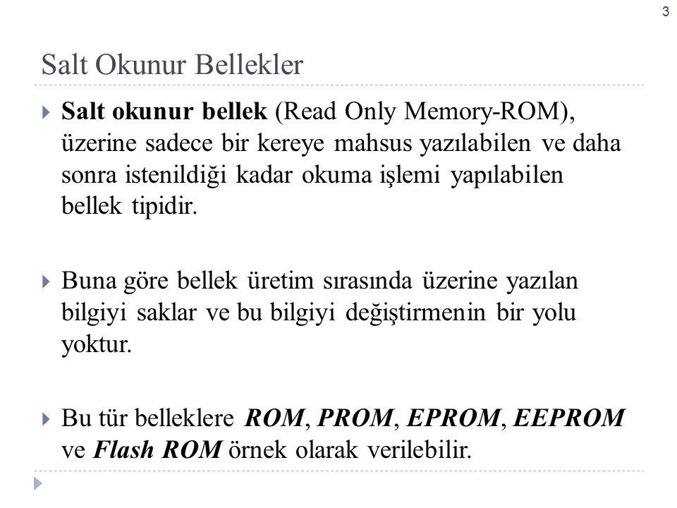 Salt Okunur Bellekler  Salt okunur bellek (Read Only Memory-ROM), üzerine sadece bir kereye mahsus yazılabilen ve daha sonra istenildiği kadar okuma işlemi yapılabilen bellek tipidir.