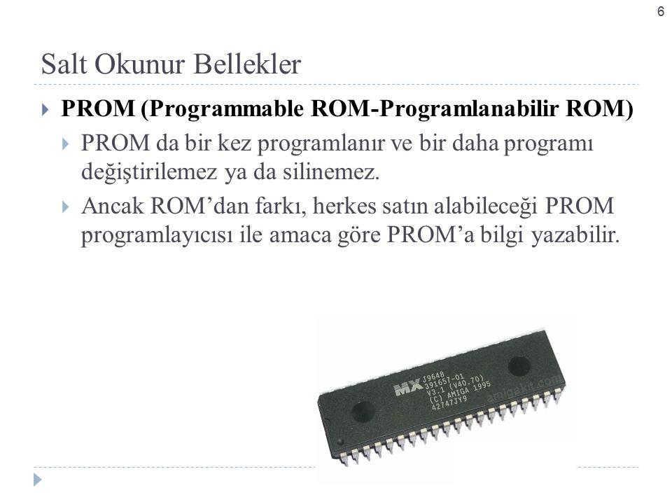 Salt Okunur Bellekler  PROM (Programmable ROM-Programlanabilir ROM)  PROM da bir kez programlanır ve bir daha programı değiştirilemez ya da silinemez.