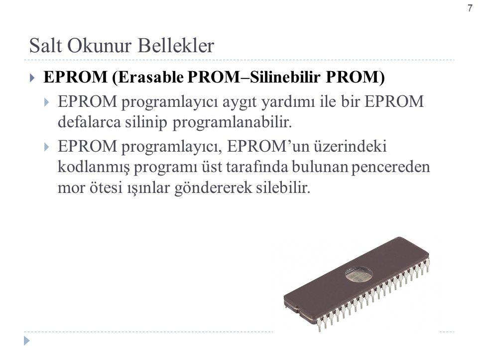 Salt Okunur Bellekler  EPROM (Erasable PROM–Silinebilir PROM)  EPROM programlayıcı aygıt yardımı ile bir EPROM defalarca silinip programlanabilir.