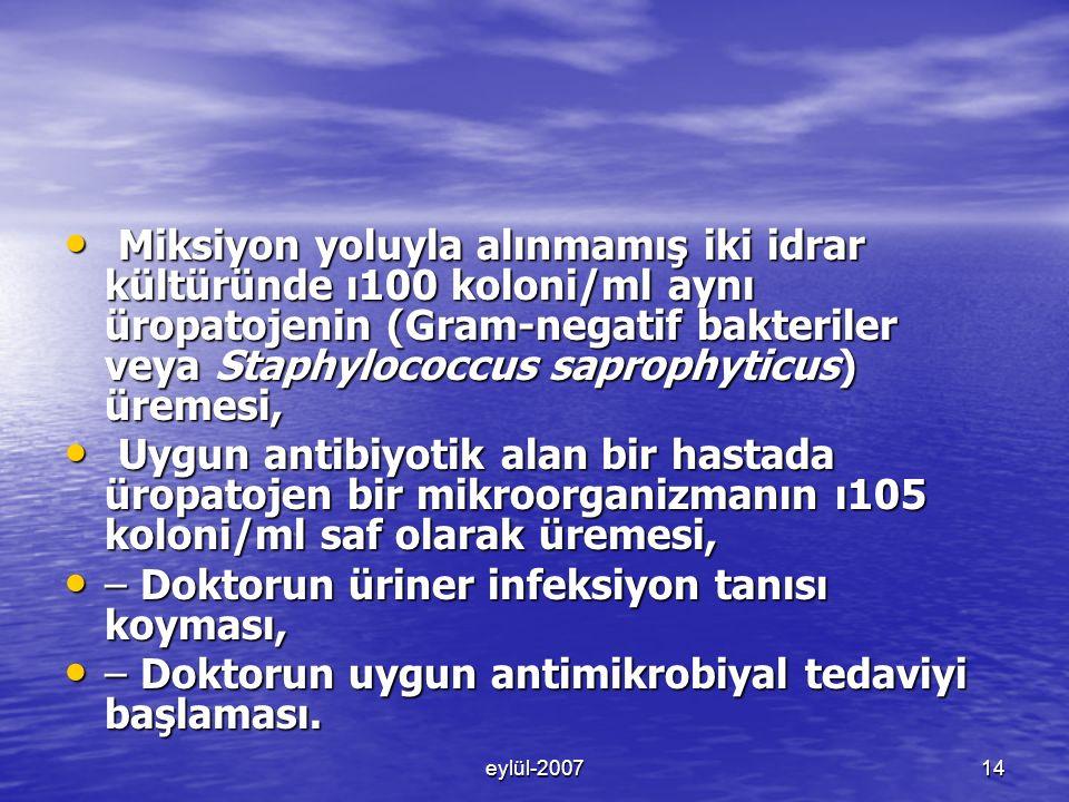 eylül-200714 Miksiyon yoluyla alınmamış iki idrar kültüründe ı100 koloni/ml aynı üropatojenin (Gram-negatif bakteriler veya Staphylococcus saprophyticus) üremesi, Miksiyon yoluyla alınmamış iki idrar kültüründe ı100 koloni/ml aynı üropatojenin (Gram-negatif bakteriler veya Staphylococcus saprophyticus) üremesi, Uygun antibiyotik alan bir hastada üropatojen bir mikroorganizmanın ı105 koloni/ml saf olarak üremesi, Uygun antibiyotik alan bir hastada üropatojen bir mikroorganizmanın ı105 koloni/ml saf olarak üremesi, – Doktorun üriner infeksiyon tanısı koyması, – Doktorun üriner infeksiyon tanısı koyması, – Doktorun uygun antimikrobiyal tedaviyi başlaması.