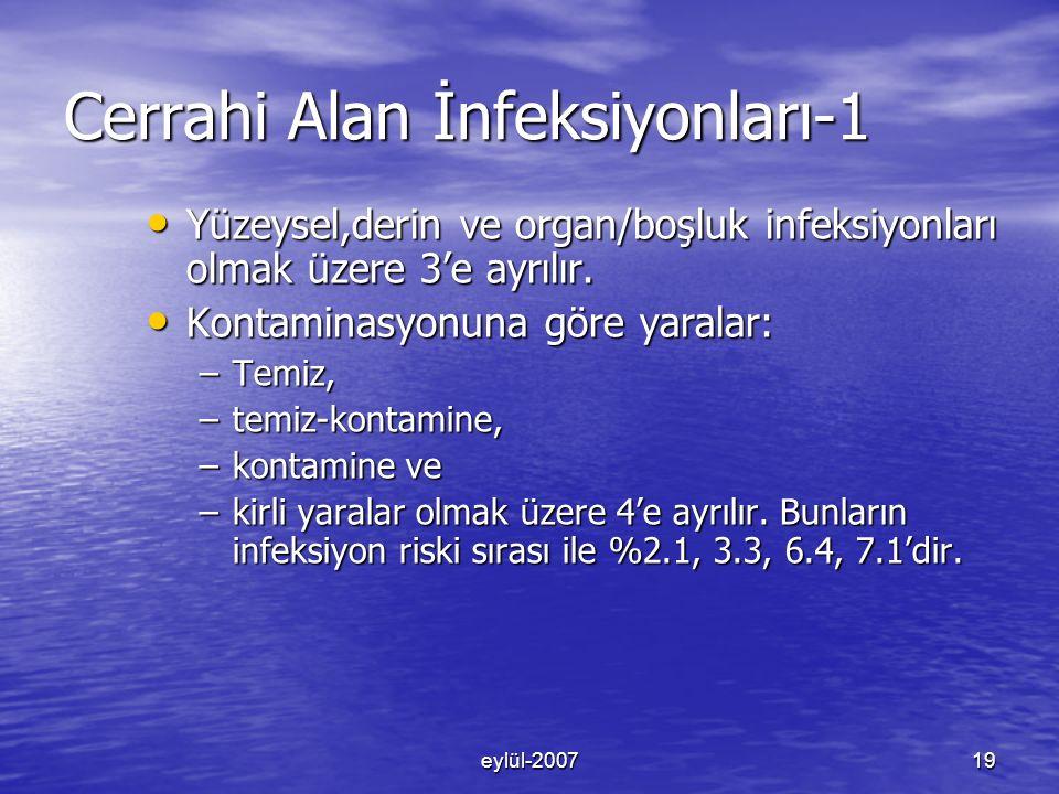 eylül-200719 Cerrahi Alan İnfeksiyonları-1 Yüzeysel,derin ve organ/boşluk infeksiyonları olmak üzere 3'e ayrılır.