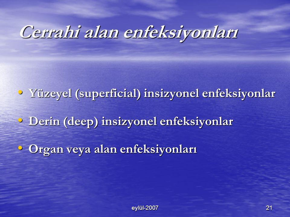 eylül-200721 Cerrahi alan enfeksiyonları Yüzeyel (superficial) insizyonel enfeksiyonlar Yüzeyel (superficial) insizyonel enfeksiyonlar Derin (deep) insizyonel enfeksiyonlar Derin (deep) insizyonel enfeksiyonlar Organ veya alan enfeksiyonları Organ veya alan enfeksiyonları