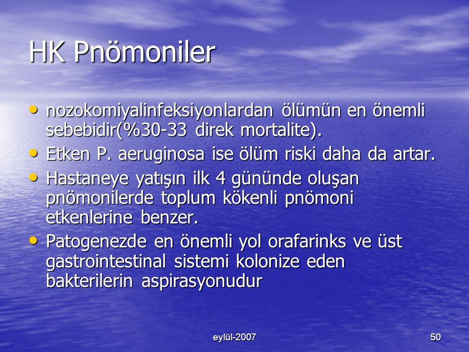 eylül-200750 HK Pnömoniler nozokomiyalinfeksiyonlardan ölümün en önemli sebebidir(%30-33 direk mortalite).