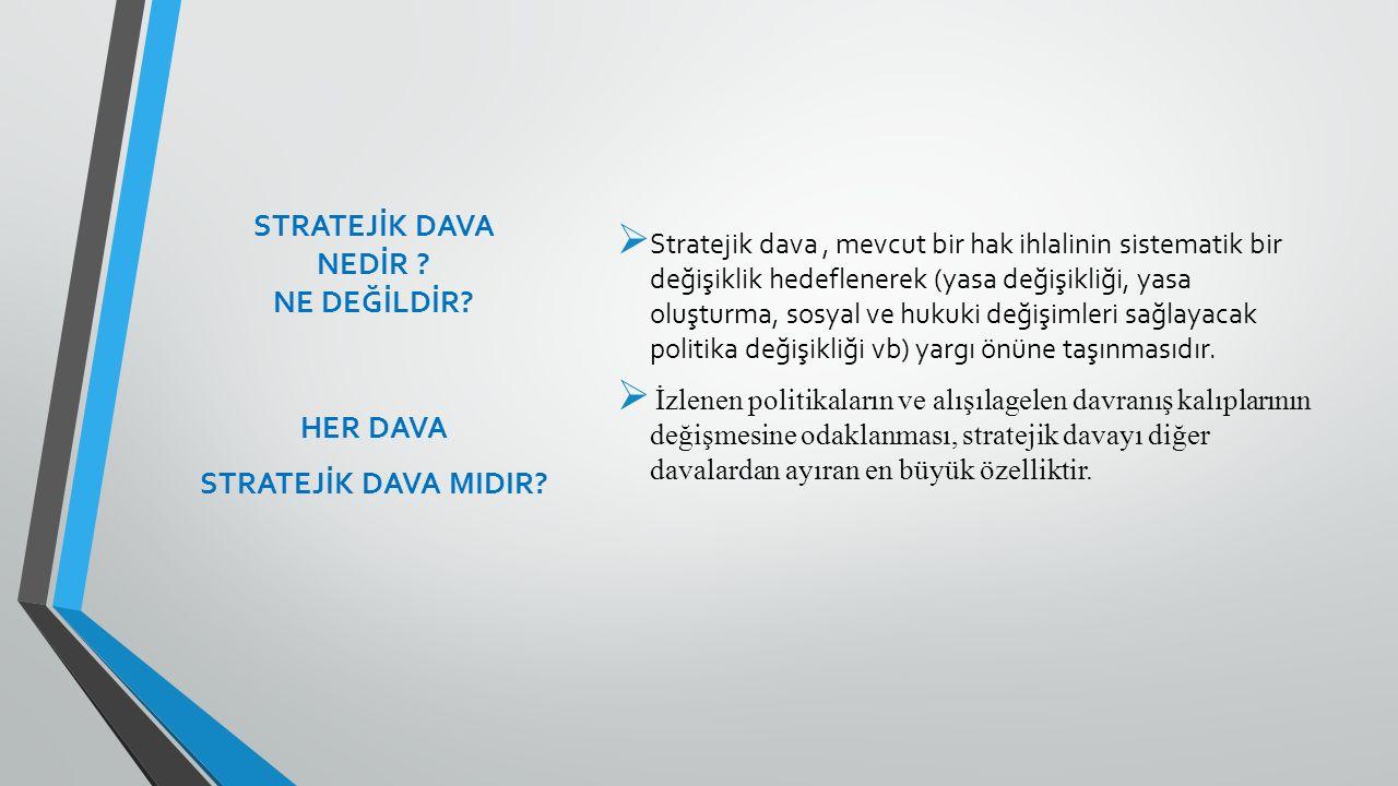 STRATEJİK DAVA NEDİR ? NE DEĞİLDİR?  Stratejik dava, mevcut bir hak ihlalinin sistematik bir değişiklik hedeflenerek (yasa değişikliği, yasa oluşturm