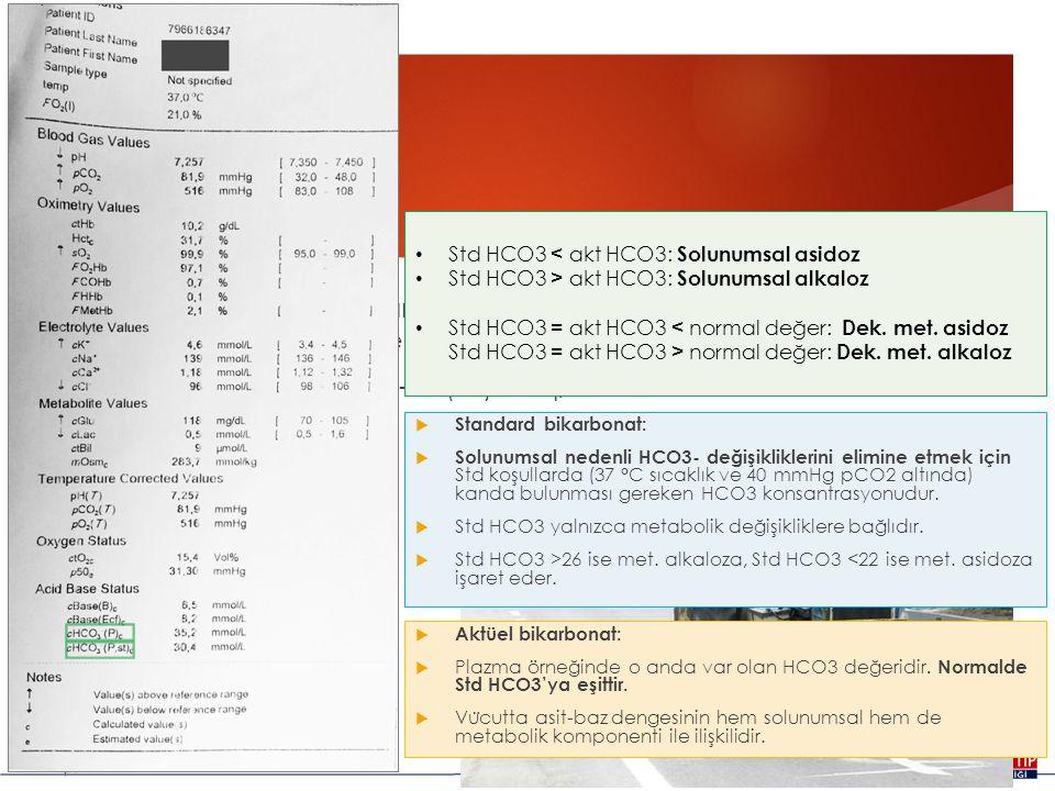 HCO3  Kanda önemli bir tampondur, asit baz dengesinin metabolik komponentini değerlendirmede kullanılır.  Normal değeri : 22-28 (24) mEq/L  Standar