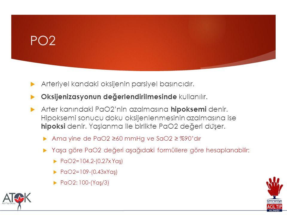 PO2  Arteriyel kandaki oksijenin parsiyel basıncıdır.  Oksijenizasyonun değerlendirilmesinde kullanılır.  Arter kanındaki PaO2'nin azalmasına hipok
