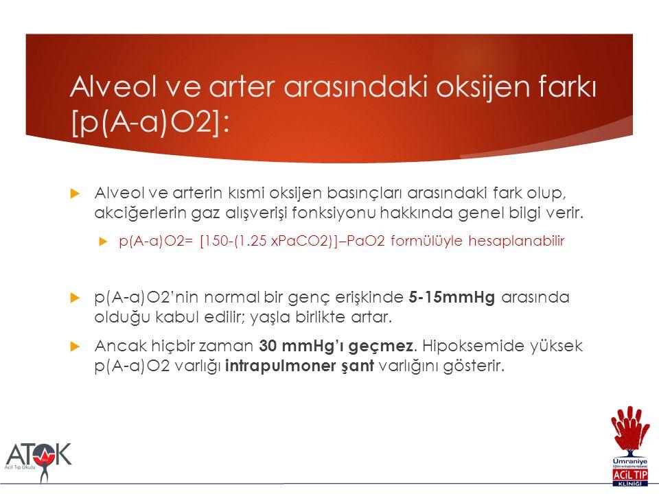 Alveol ve arter arasındaki oksijen farkı [p(A-a)O2]:  Alveol ve arterin kısmi oksijen basınçları arasındaki fark olup, akciğerlerin gaz alışverişi fo