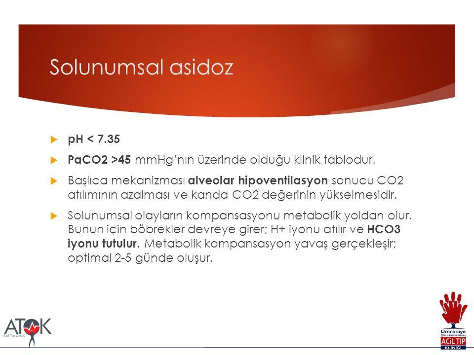 Solunumsal asidoz  pH < 7.35  PaCO2 >45 mmHg'nın üzerinde olduğu klinik tablodur.  Başlıca mekanizması alveolar hipoventilasyon sonucu CO2 atılımın