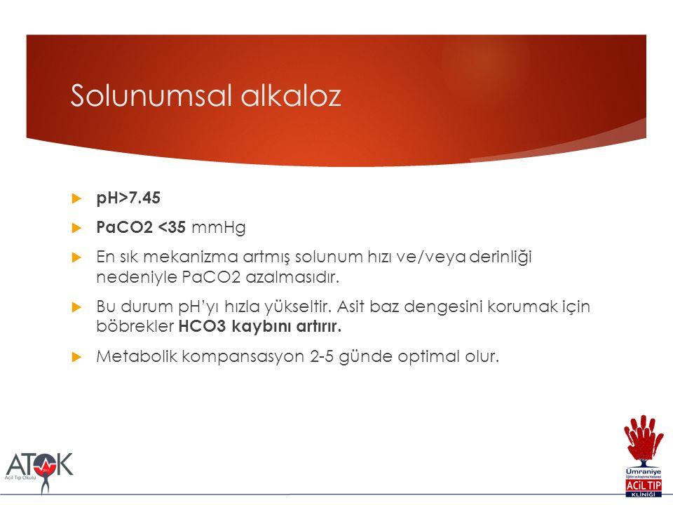 Solunumsal alkaloz  pH>7.45  PaCO2 <35 mmHg  En sık mekanizma artmış solunum hızı ve/veya derinliği nedeniyle PaCO2 azalmasıdır.  Bu durum pH'yı h