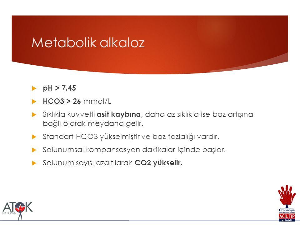 Metabolik alkaloz  pH > 7.45  HCO3 > 26 mmol/L  Sıklıkla kuvvetli asit kaybına, daha az sıklıkla ise baz artışına bağlı olarak meydana gelir.