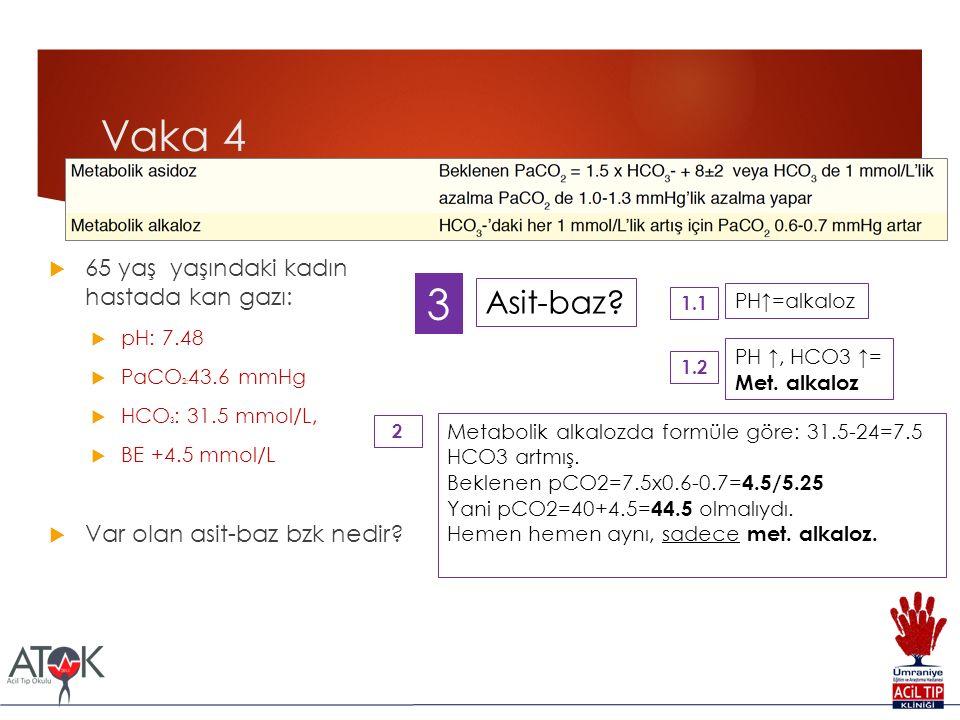 Vaka 4  65 yaş yaşındaki kadın hastada kan gazı:  pH: 7.48  PaCO 2: 43.6 mmHg  HCO 3 : 31.5 mmol/L,  BE +4.5 mmol/L  Var olan asit-baz bzk nedir.