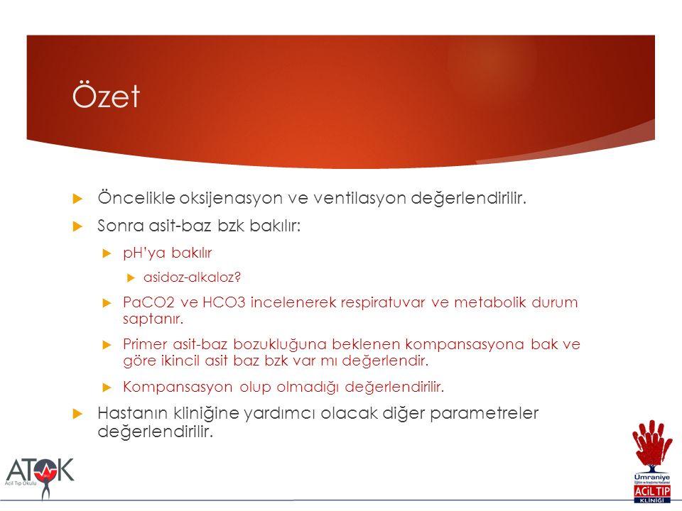 Özet  Öncelikle oksijenasyon ve ventilasyon değerlendirilir.  Sonra asit-baz bzk bakılır:  pH'ya bakılır  asidoz-alkaloz?  PaCO2 ve HCO3 incelene