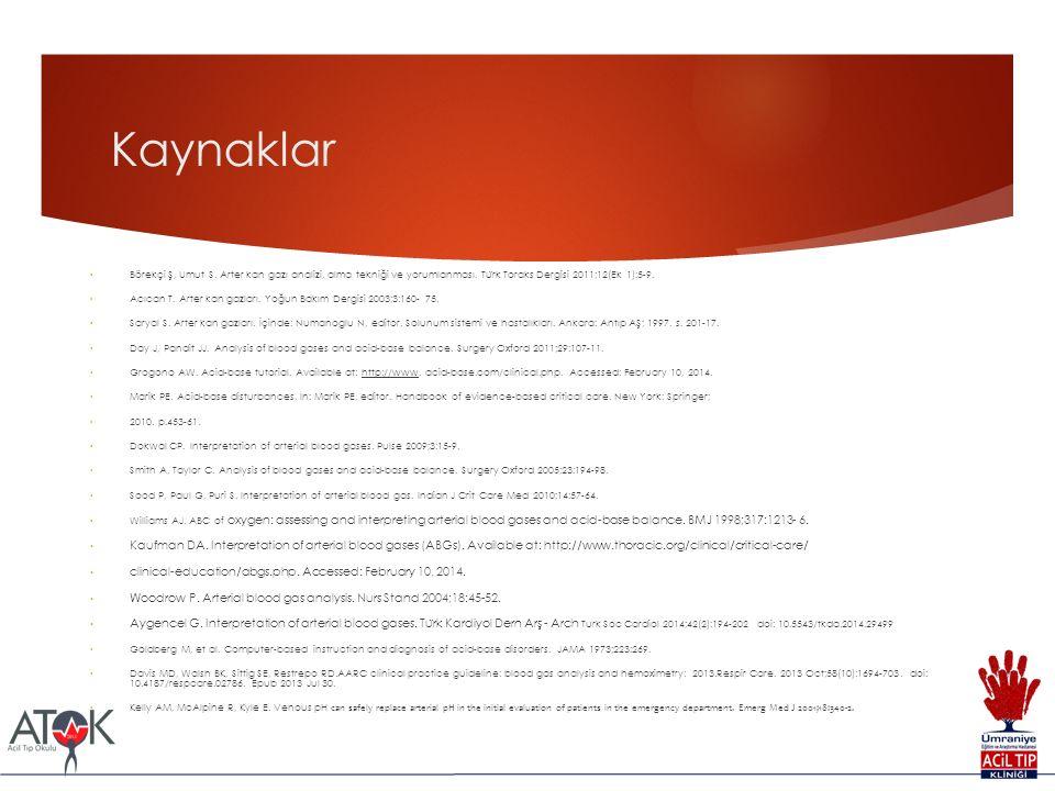 Kaynaklar Börekçi Ş, Umut S. Arter kan gazı analizi, alma tekniği ve yorumlanması. Tu ̈ rk Toraks Dergisi 2011;12(Ek 1):5-9. Acıcan T. Arter kan gazla