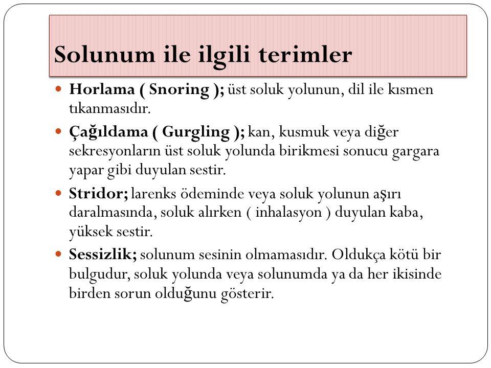 Solunum ile ilgili terimler Horlama ( Snoring ); üst soluk yolunun, dil ile kısmen tıkanmasıdır. Ça ğ ıldama ( Gurgling ); kan, kusmuk veya di ğ er se