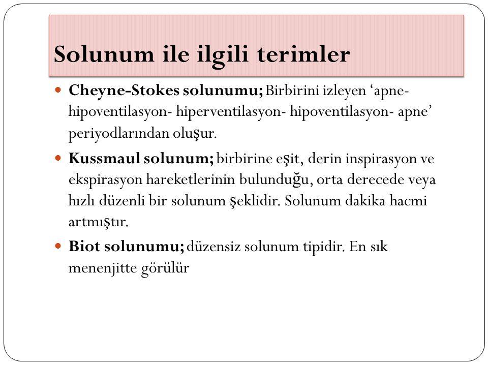 Solunum ile ilgili terimler Cheyne-Stokes solunumu; Birbirini izleyen 'apne- hipoventilasyon- hiperventilasyon- hipoventilasyon- apne' periyodlarından